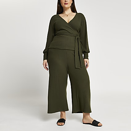 Plus khaki belted ribbed culottes