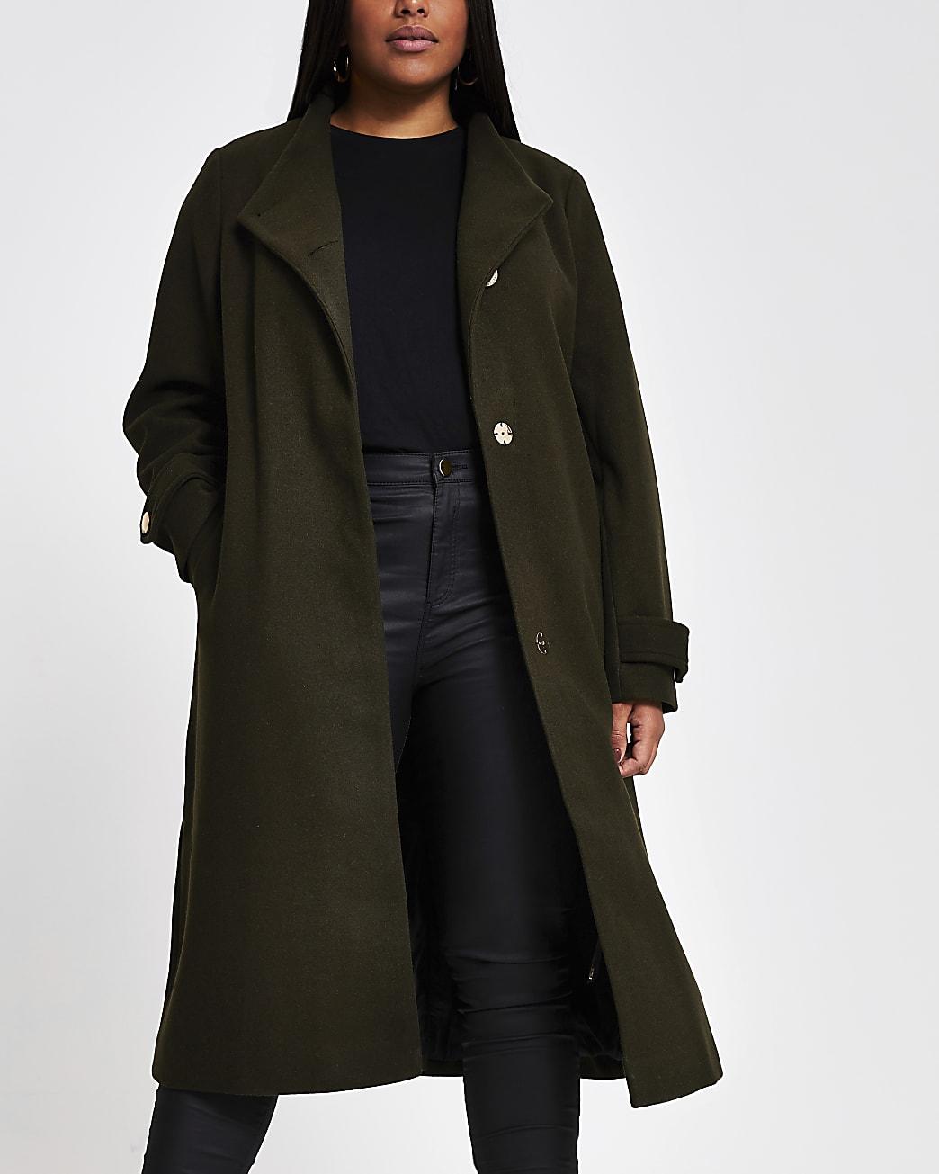 Plus khaki belted wrap coat