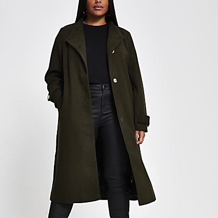 Plus khaki belted wrap coat