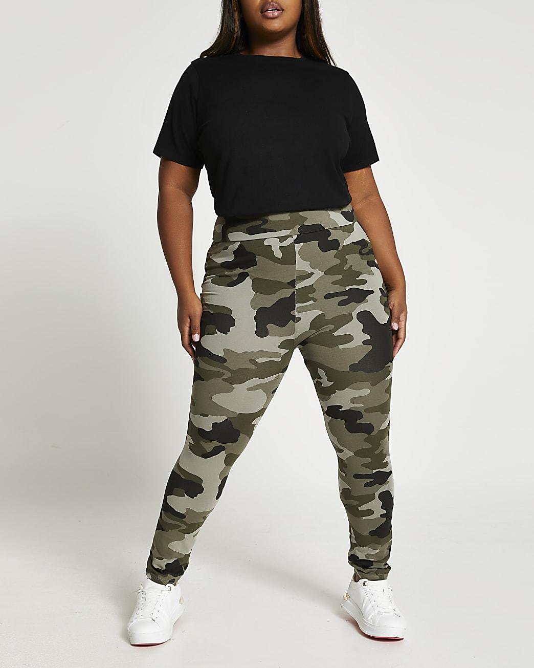 Plus khaki camo print leggings