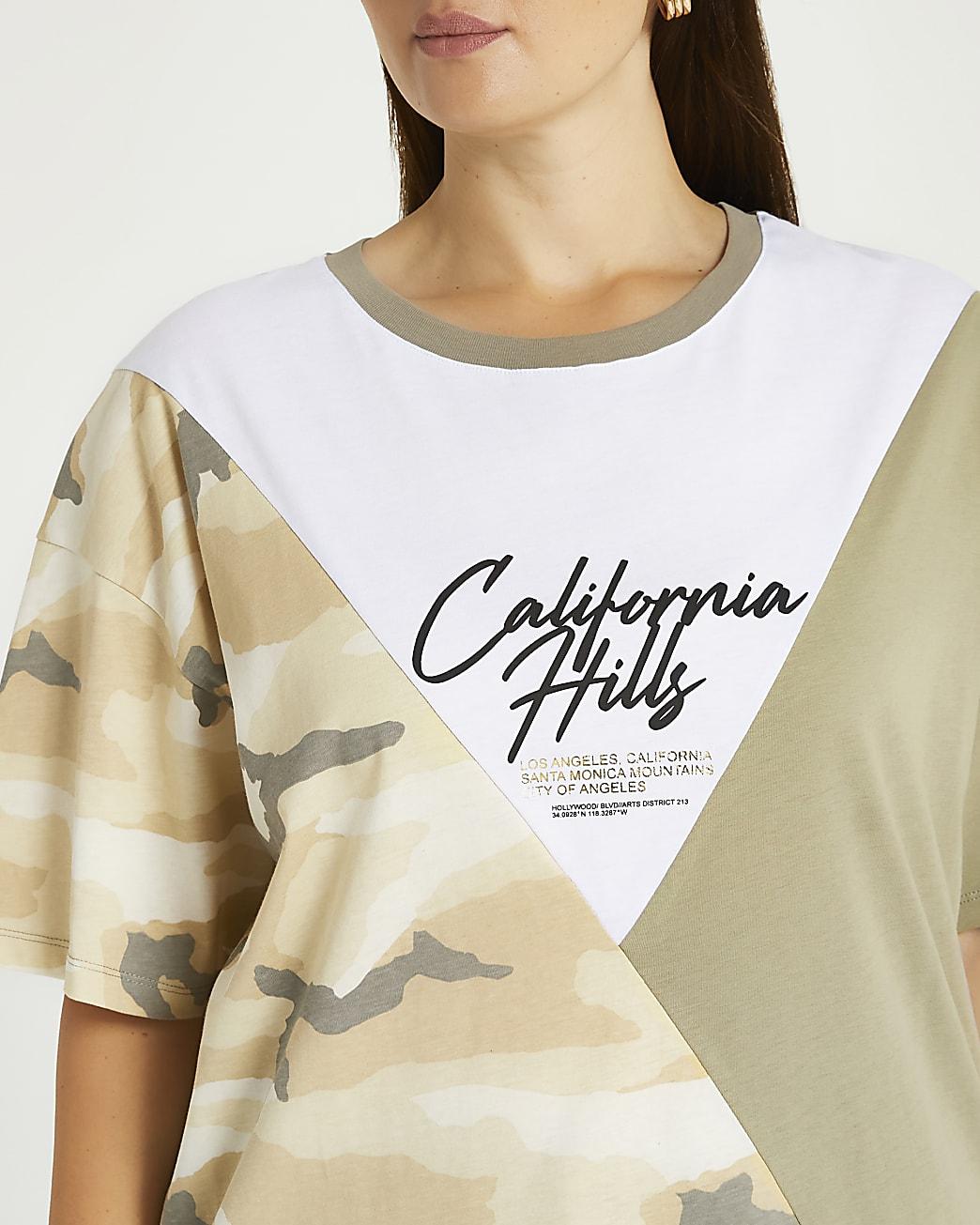 Plus khaki camo print t-shirt