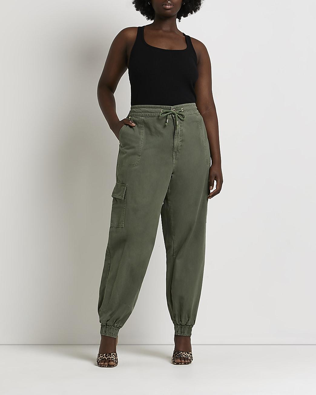 Plus khaki cargo trousers