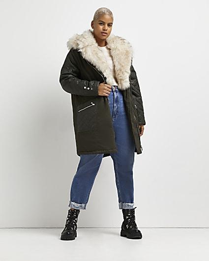 Plus khaki faux fur lined parka coat