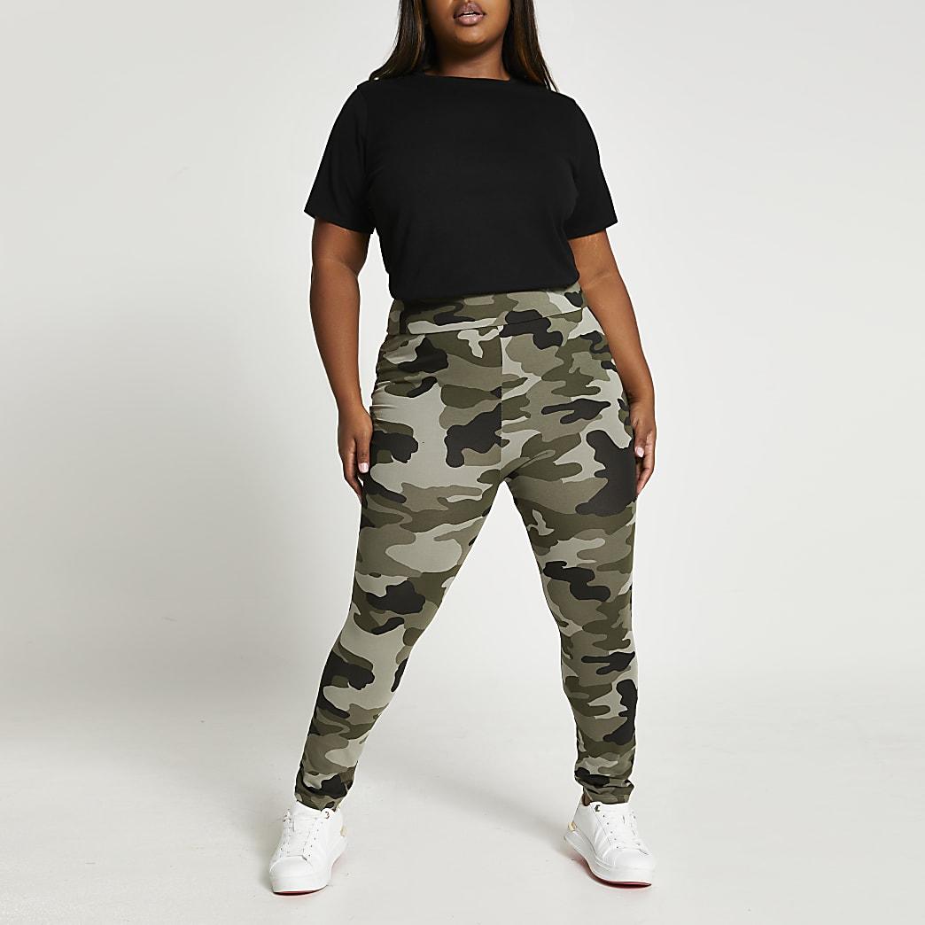 Plus khaki high waisted camo leggings