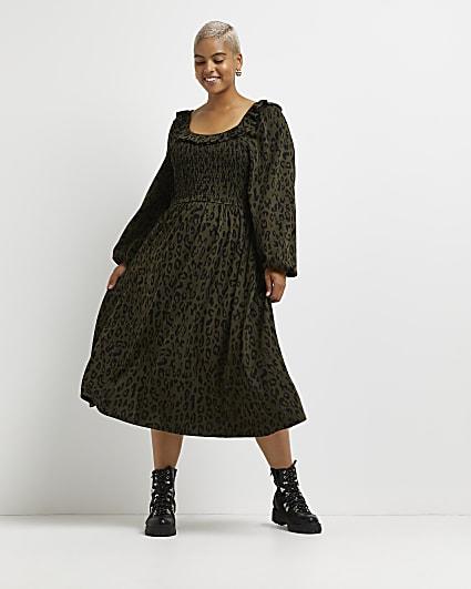 Plus khaki leopard print shirred midi dress