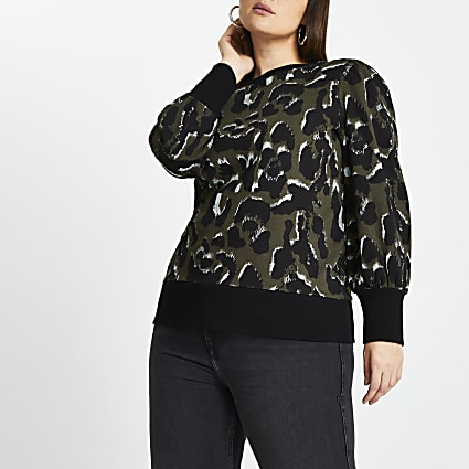 Plus khaki leopard print sweatshirt