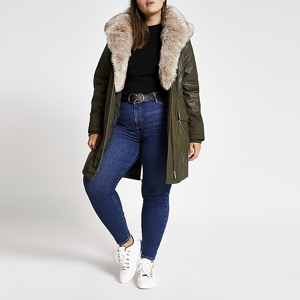 Plus khaki long sleeve faux fur parka coat