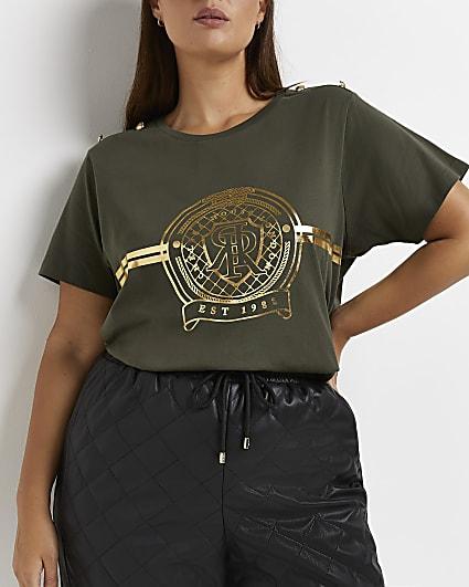 Plus khaki RI branded t-shirt