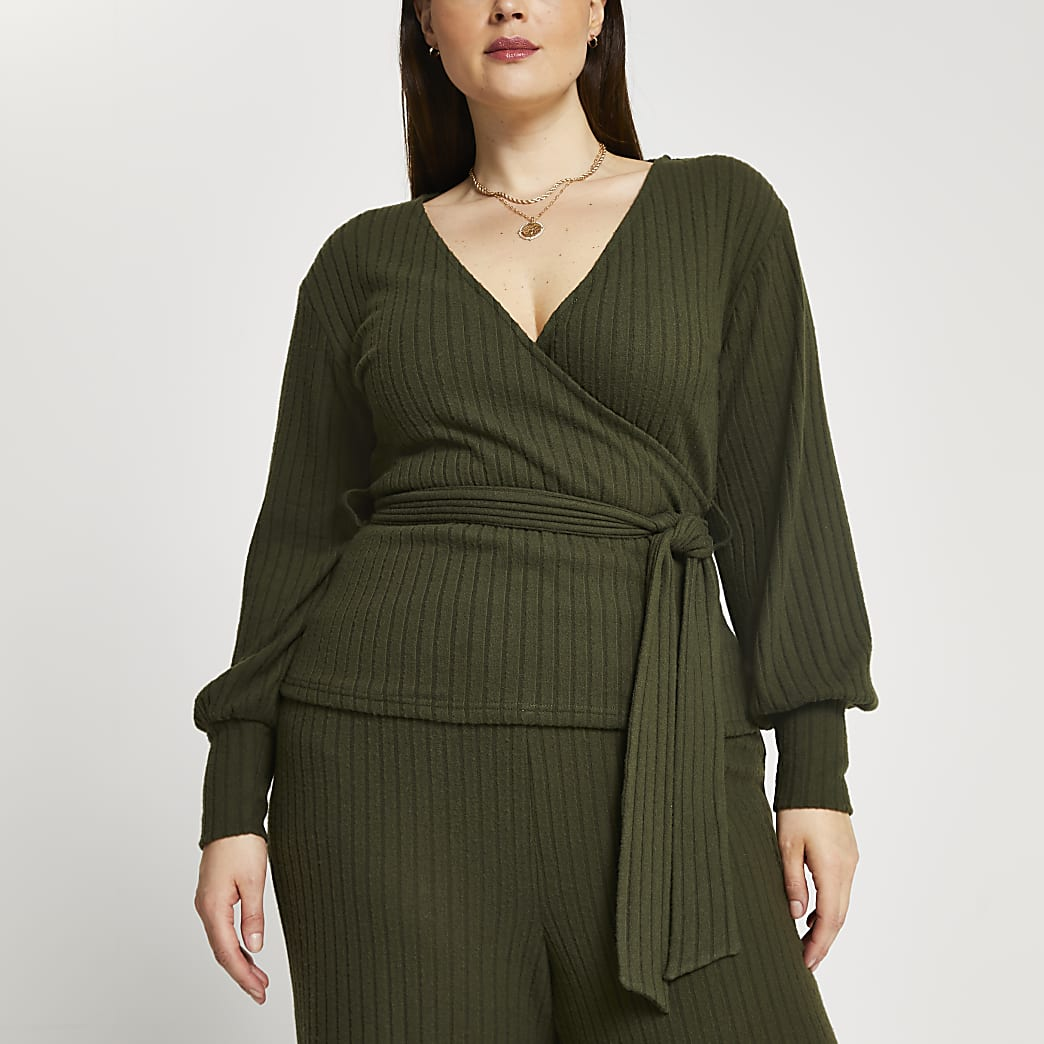Plus khaki ribbed long sleeve wrap top
