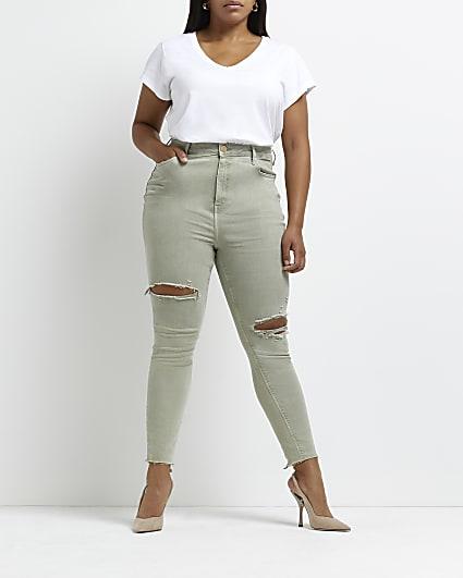 Plus khaki ripped high waisted skinny jeans