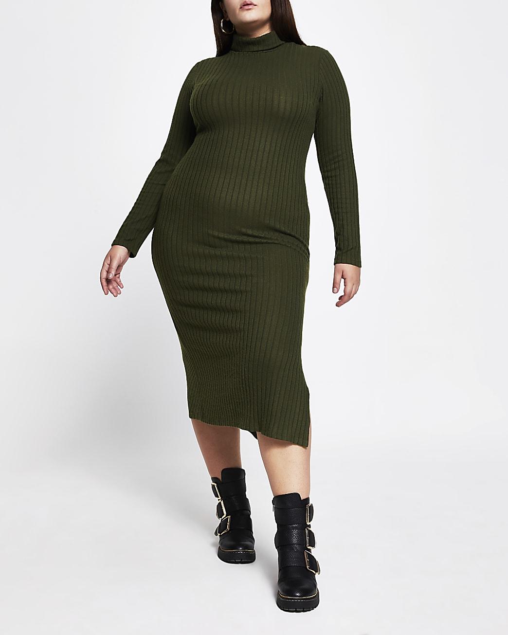 Plus khaki turtle neck maxi dress