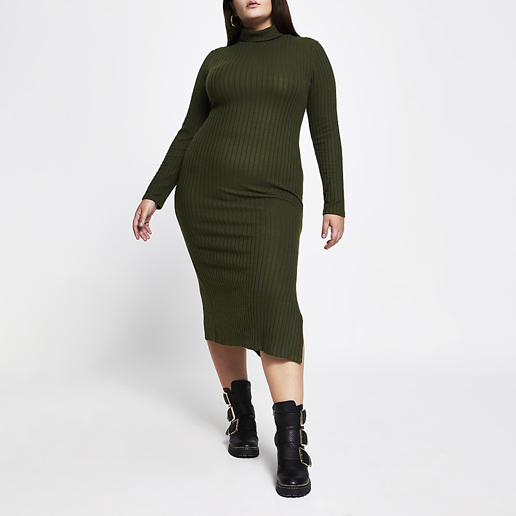 Plus khaki turtle neck maxi dress