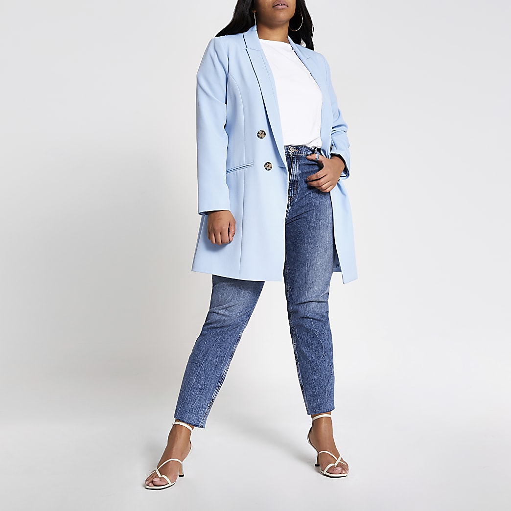 Plus light blue double breasted blazer