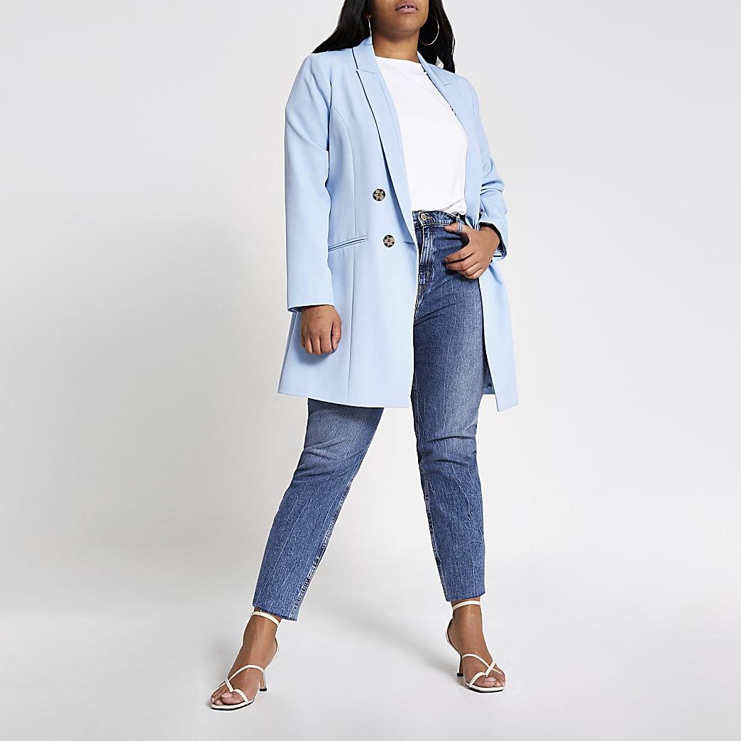 Plus–Blazer bleu clair croisé