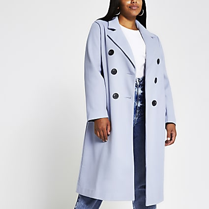 Plus Light Blue double breasted coat