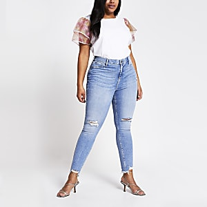 Plus – Molly – Hellblaue Mid-Rise-Jeggings im Used-Look