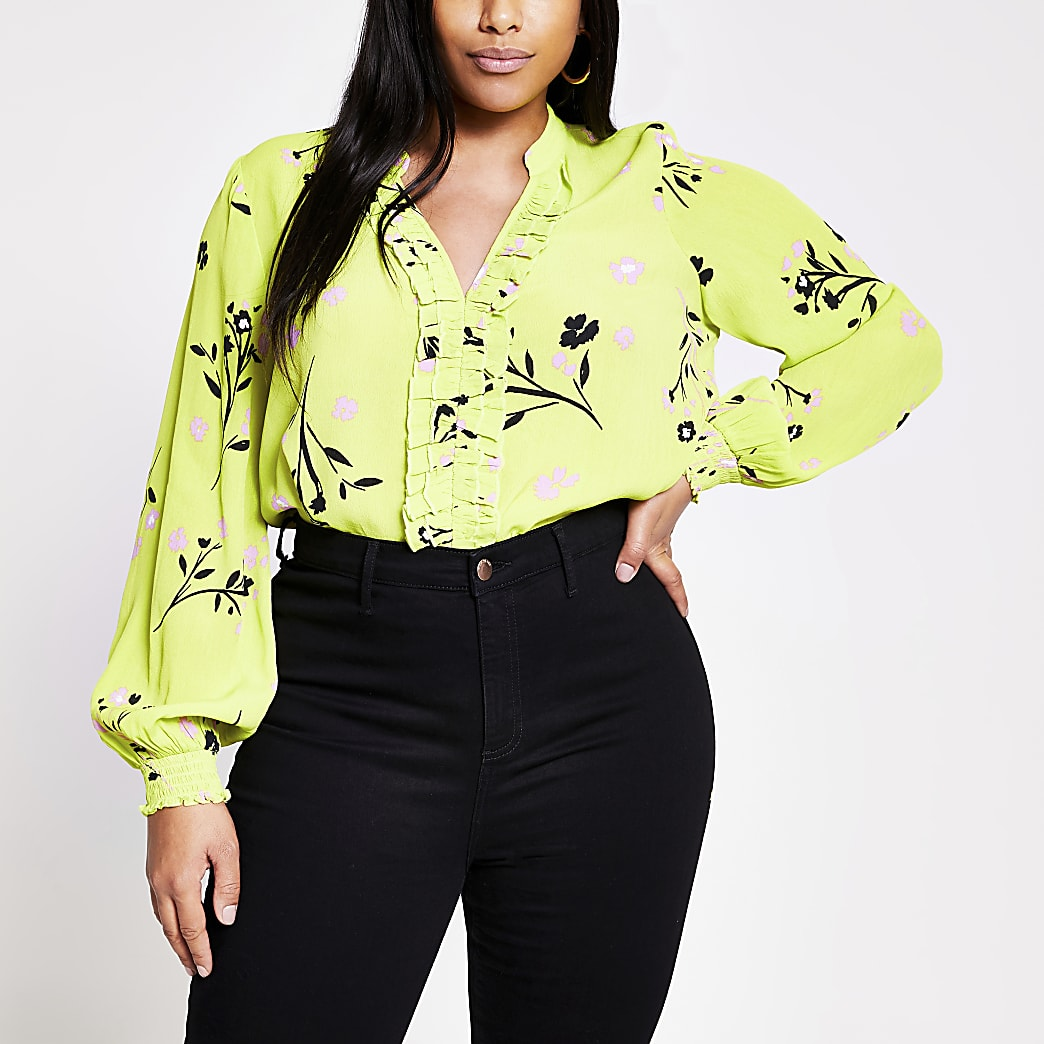 Plus lime floral print long sleeve blouse