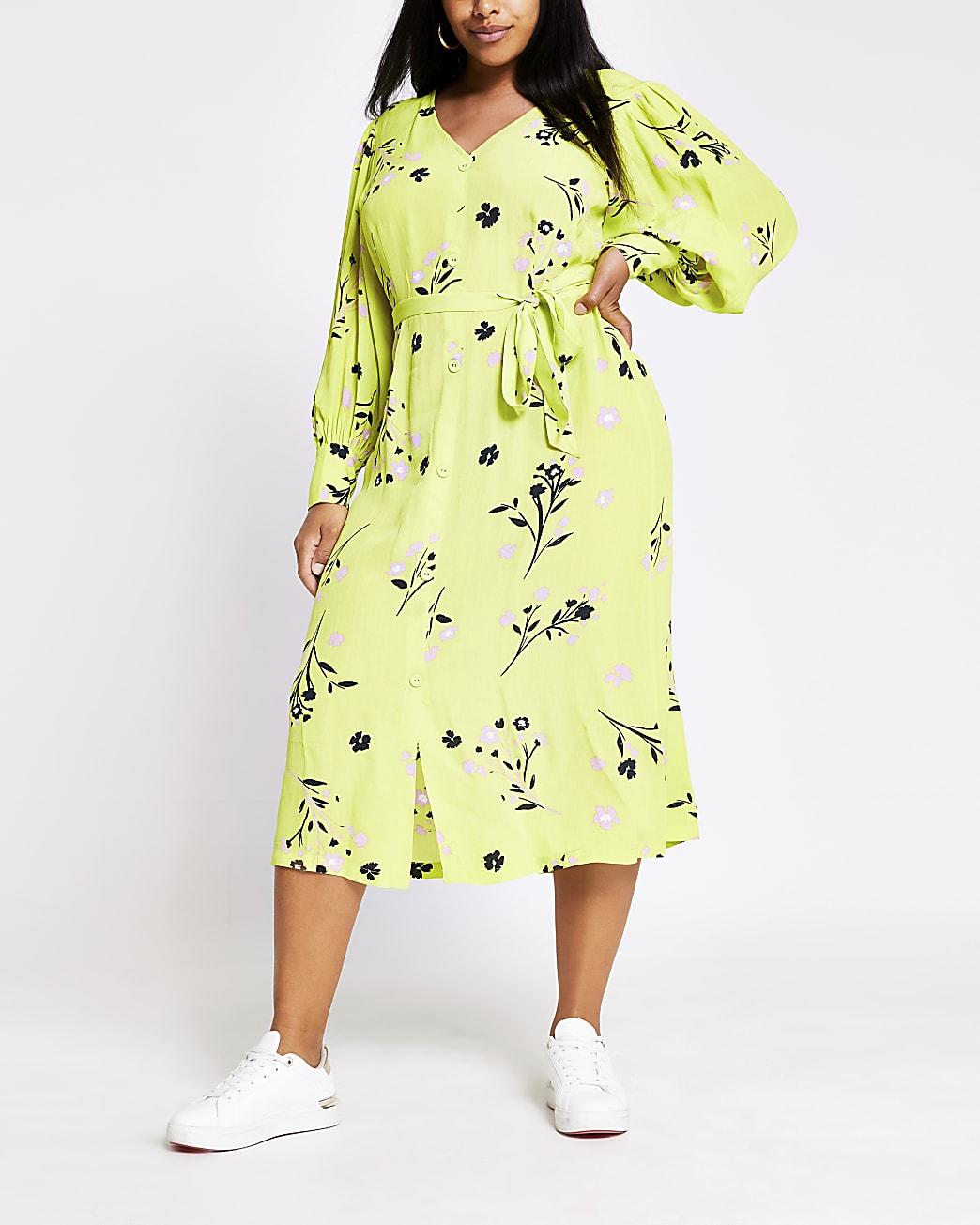 Plus lime long sleeve printed midi dress