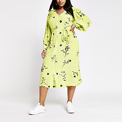 Plus lime long sleeve printed midi dress