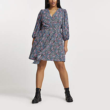 Plus navy floral mini wrap dress