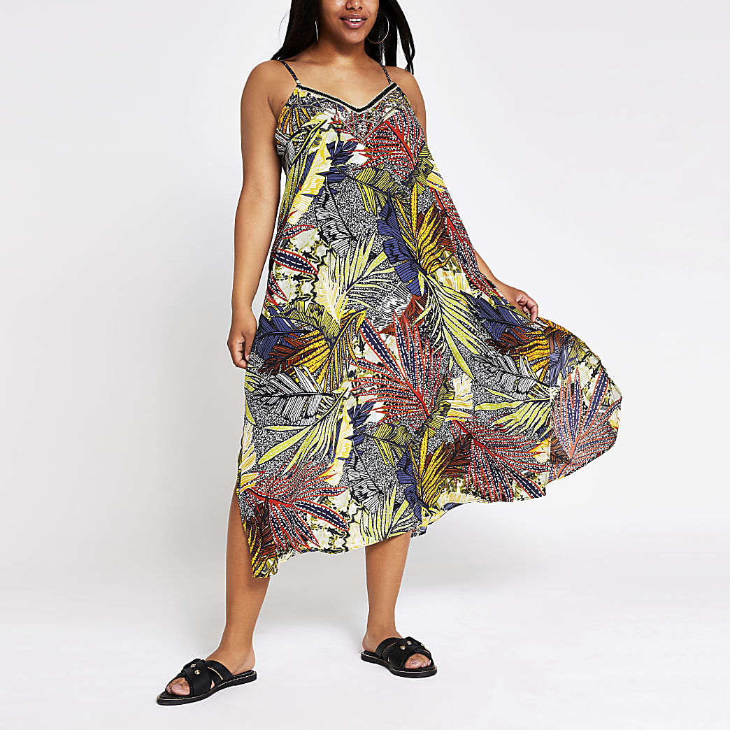 Plus navy floral slip midi beach dress