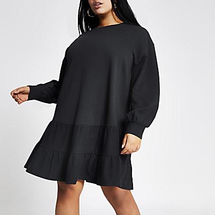 Plus navy mini smock sweatshirt dress