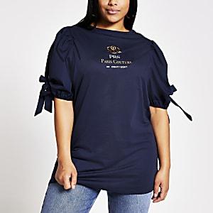 RI Plus - Marineblauw T-shirt met 'Paris Couture'-tekst