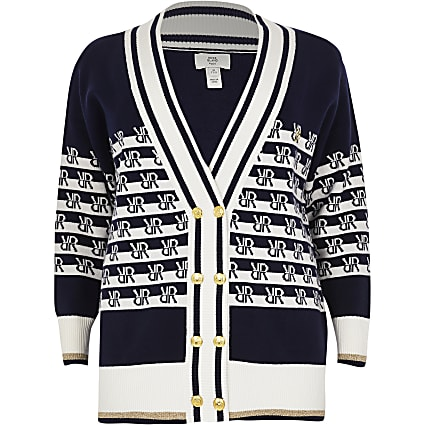 Plus navy RI logo stripe cardigan