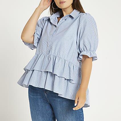 Plus navy short sleeve layer smock shirt