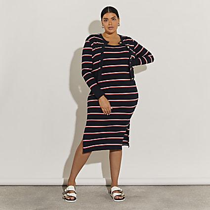 Plus navy stripe midi dress and cardi set