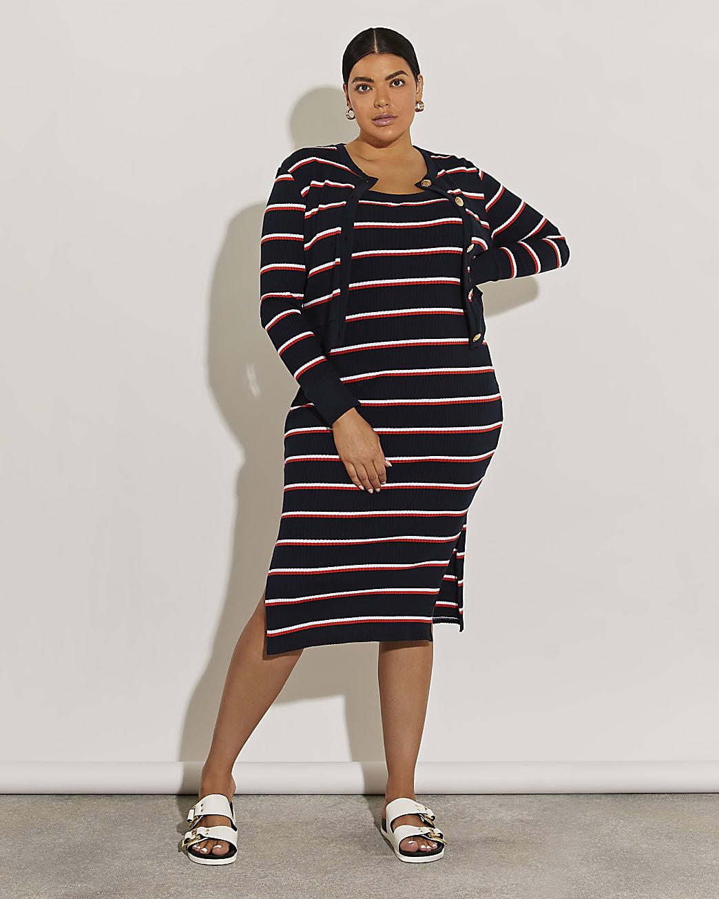Plus navy stripe midi dress and cardigan set