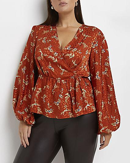 Plus orange floral blouse
