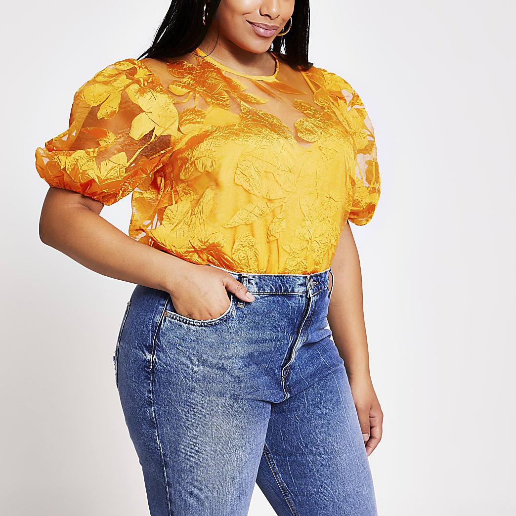 Plus orange floral organza top