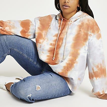 Plus orange tie dye hoodie