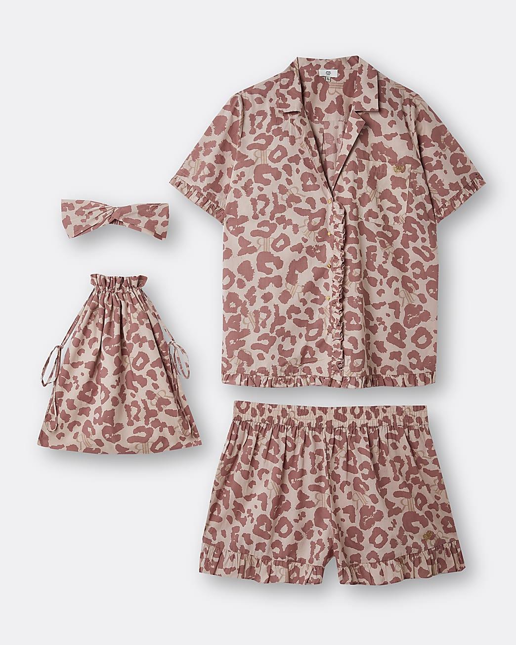 Plus pink animal print pyjama set