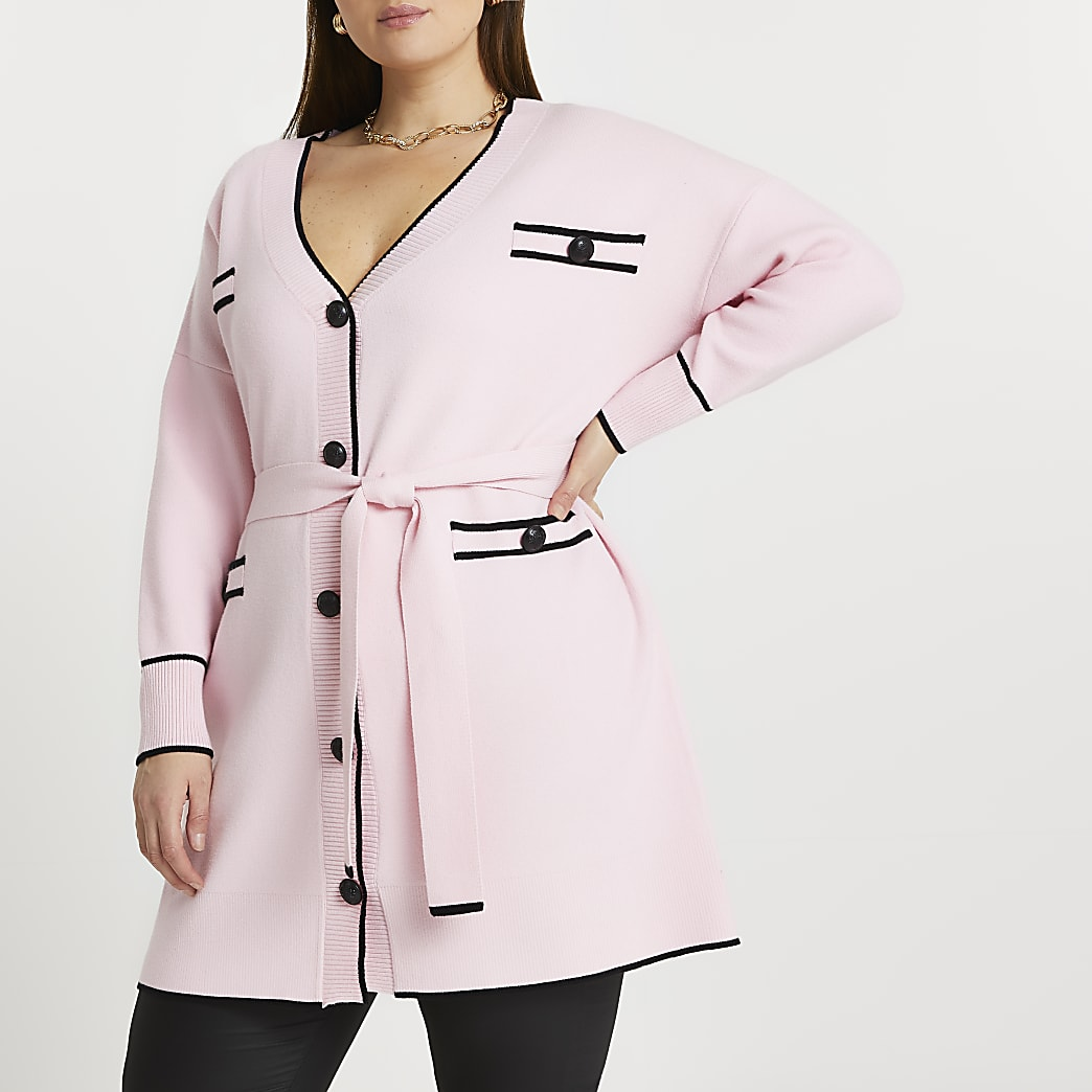 Plus pink belted knit cardigan