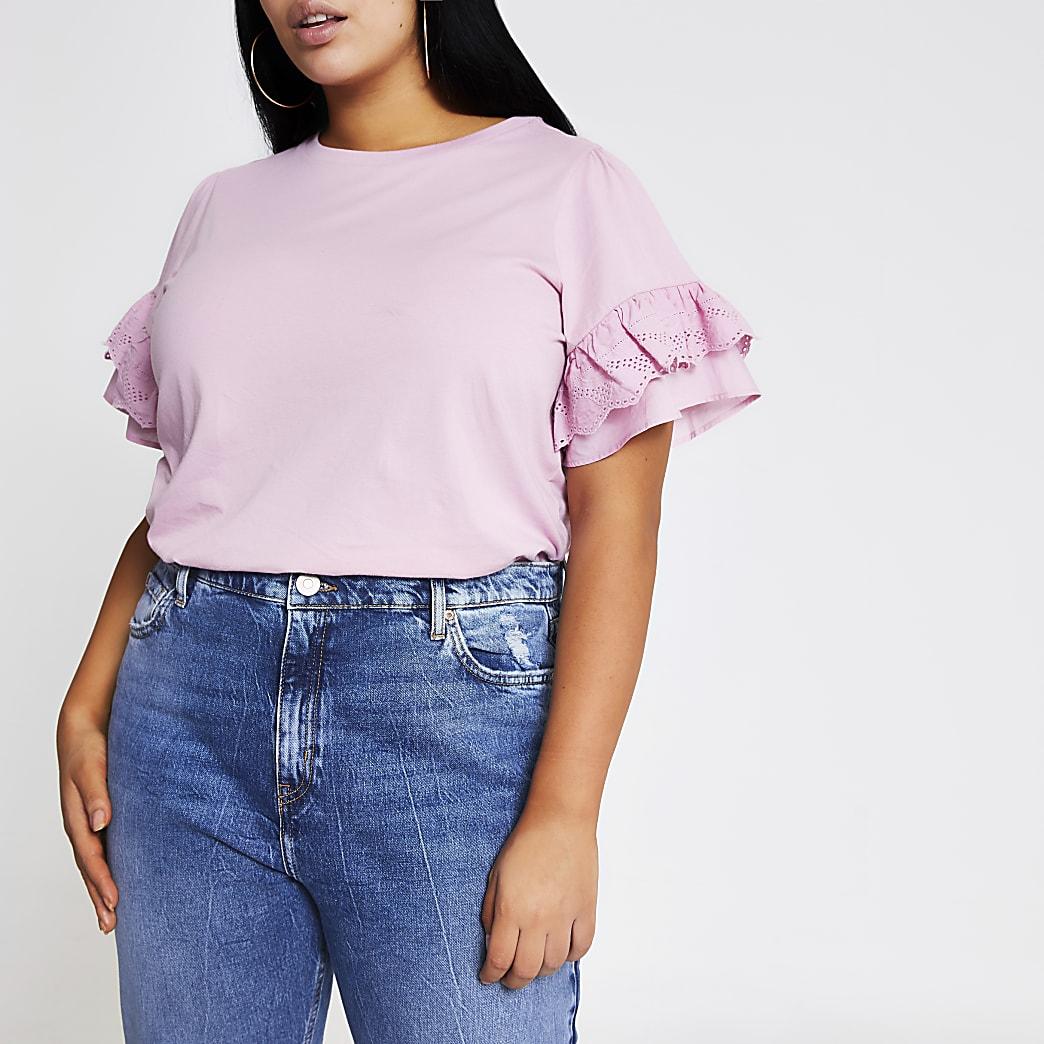 RI Plus - Roze T-shirt met wijduitlopende mouwen met broderie