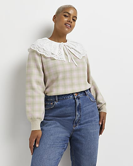 Plus pink check oversized collar jumper