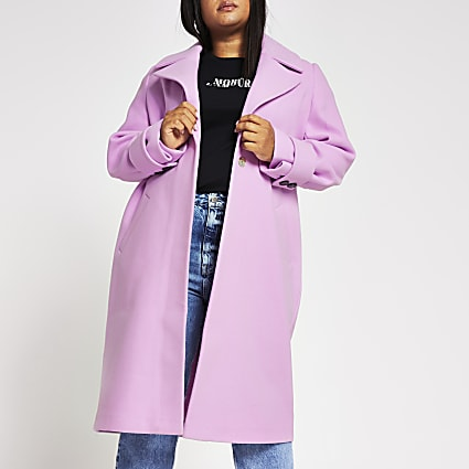 Plus pink cuff detail coat