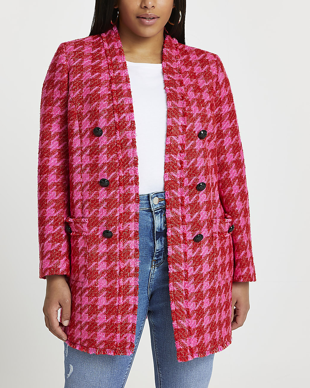 Plus pink dogtooth blazer