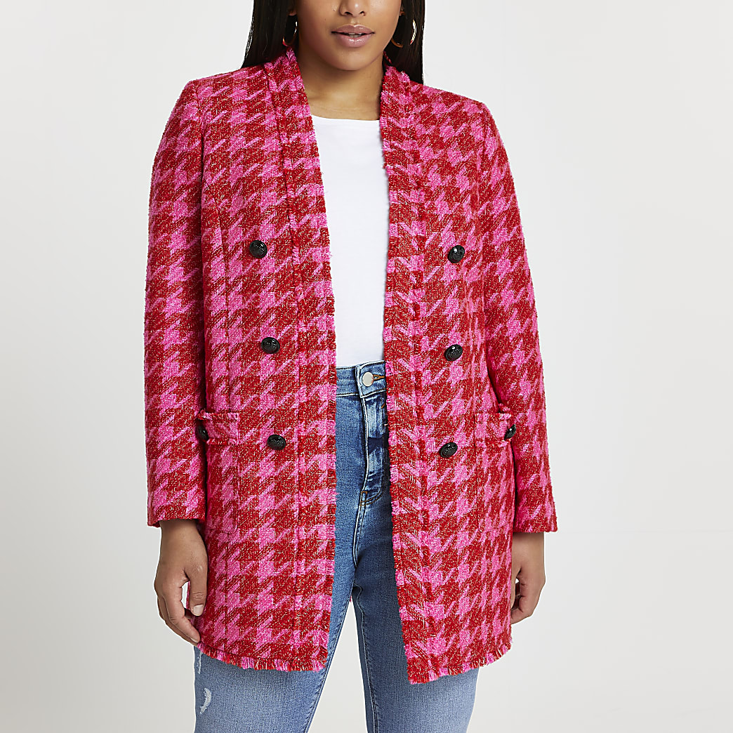 Plus pink dogtooth blazer
