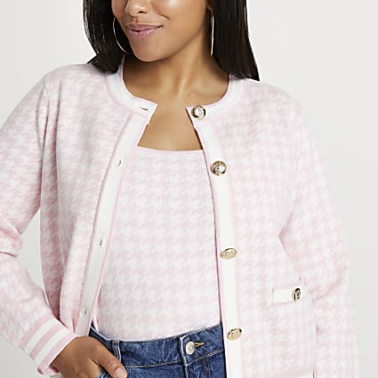 Plus pink dogtooth cardigan