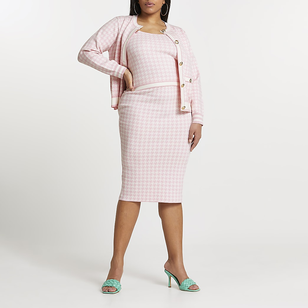 Plus pink dogtooth knitted midi skirt