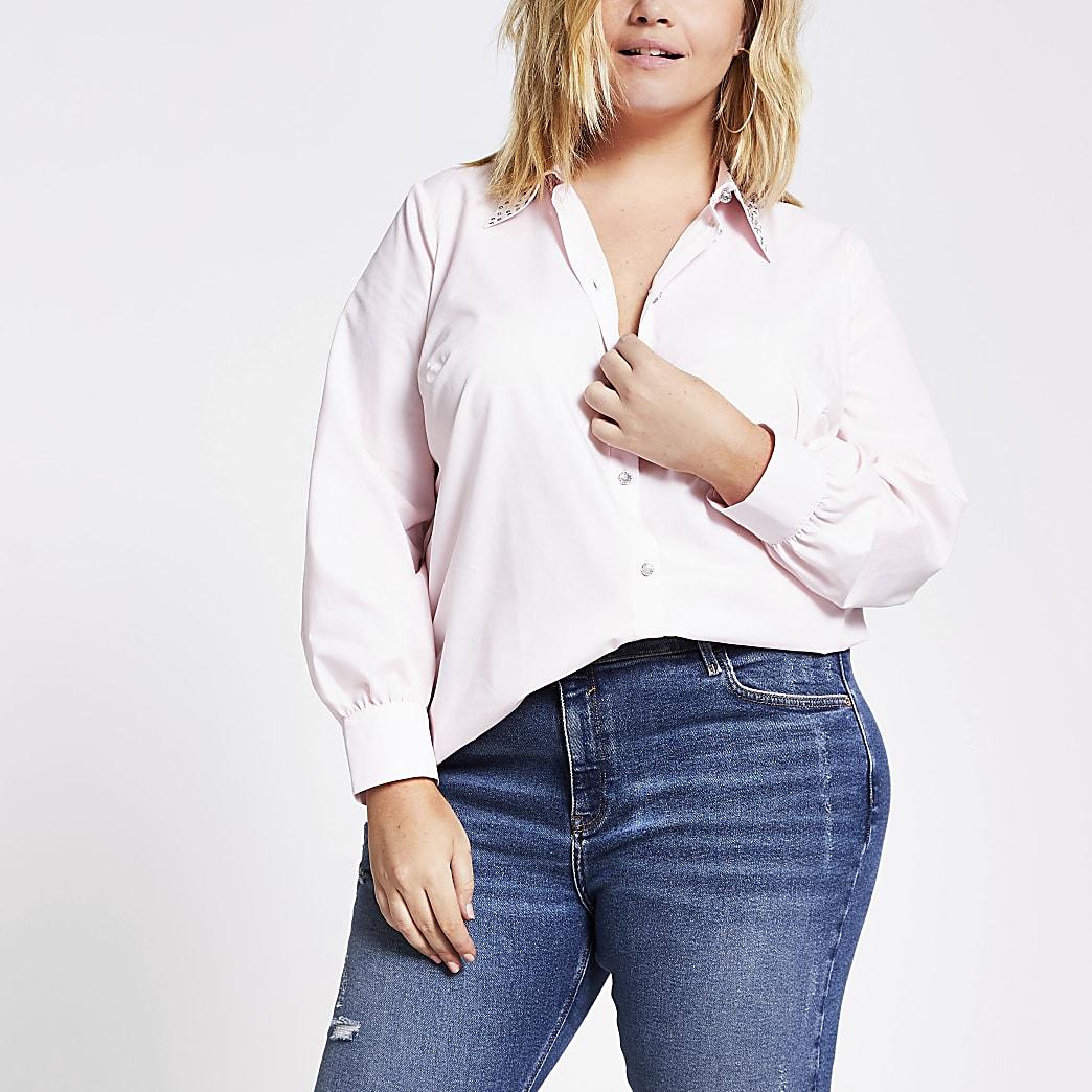 Plus pink embellished collar shirt