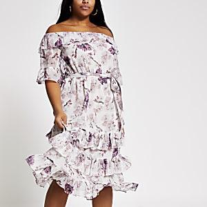 RI Plus -Roze bardot midi-jurk met ruches en bloemenprint