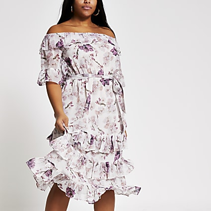 Plus pink floral bardot ruffle midi dress