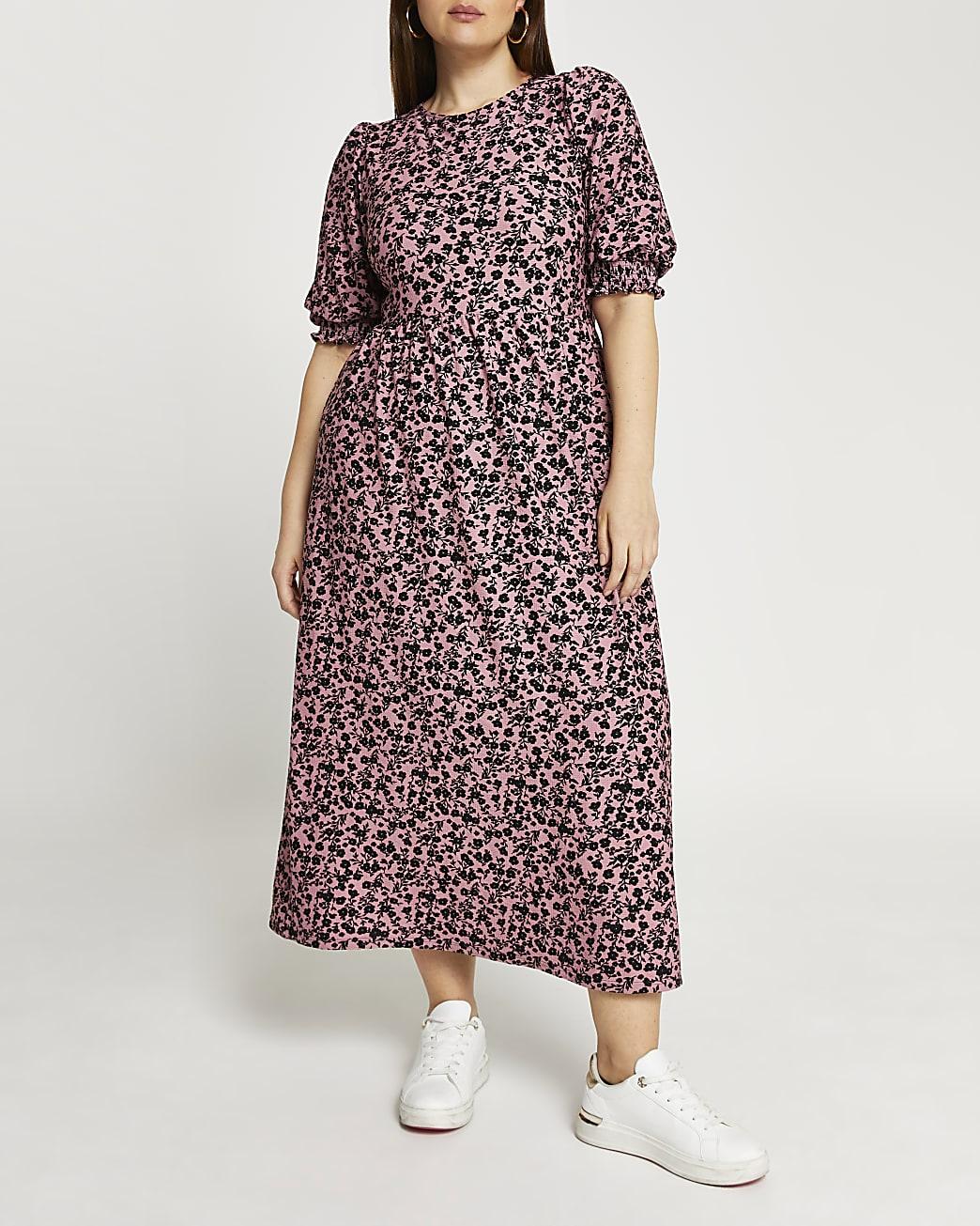 Plus pink floral cut out back midi dress