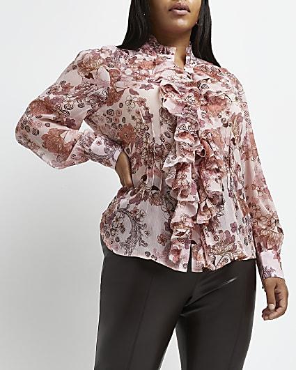 Plus pink floral high neck blouse