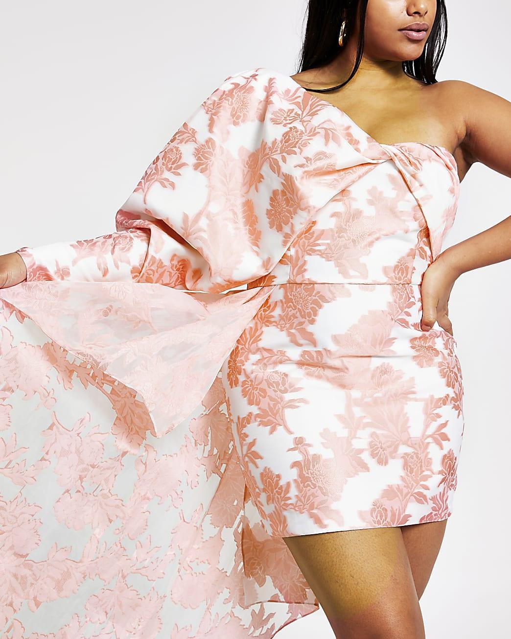 Plus pink floral one shoulder mini dress