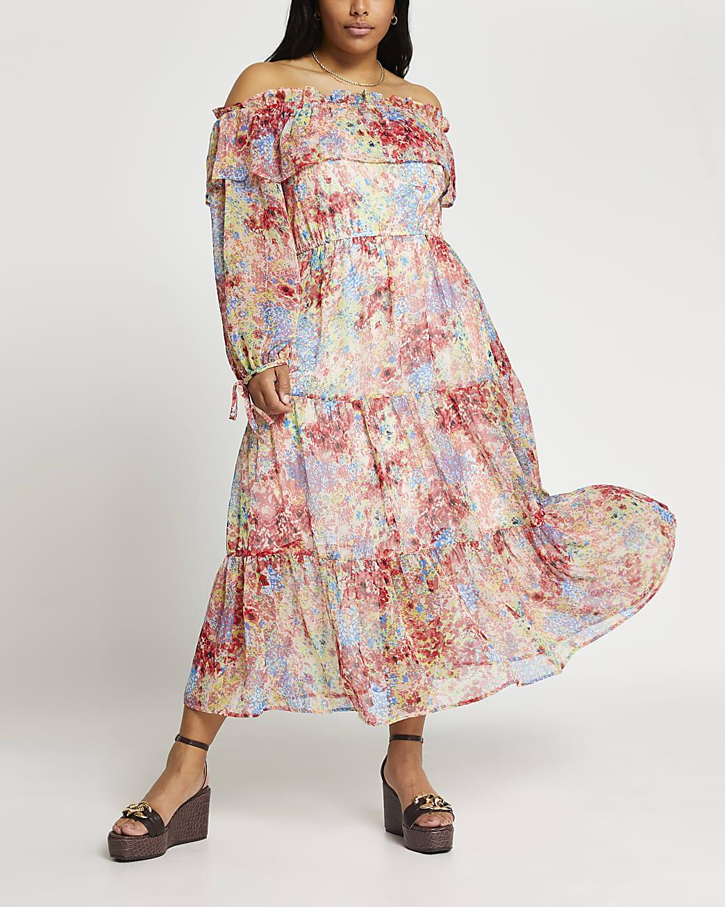 Plus pink floral print maxi dress